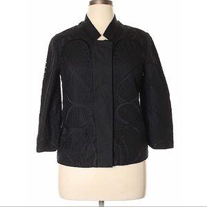 Elie Tahari Eyelet Lace Mandarin Jacket Size 12